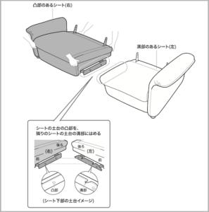 電動ソファーの斜めに差し込む連結タイプ