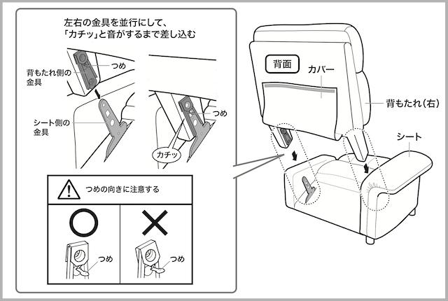 電動ソファーの背もたれの分解方法
