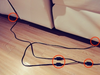 ニトリの電動ソファのコードの画像