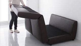 ソファベッドの背もたれと座面の引き出し